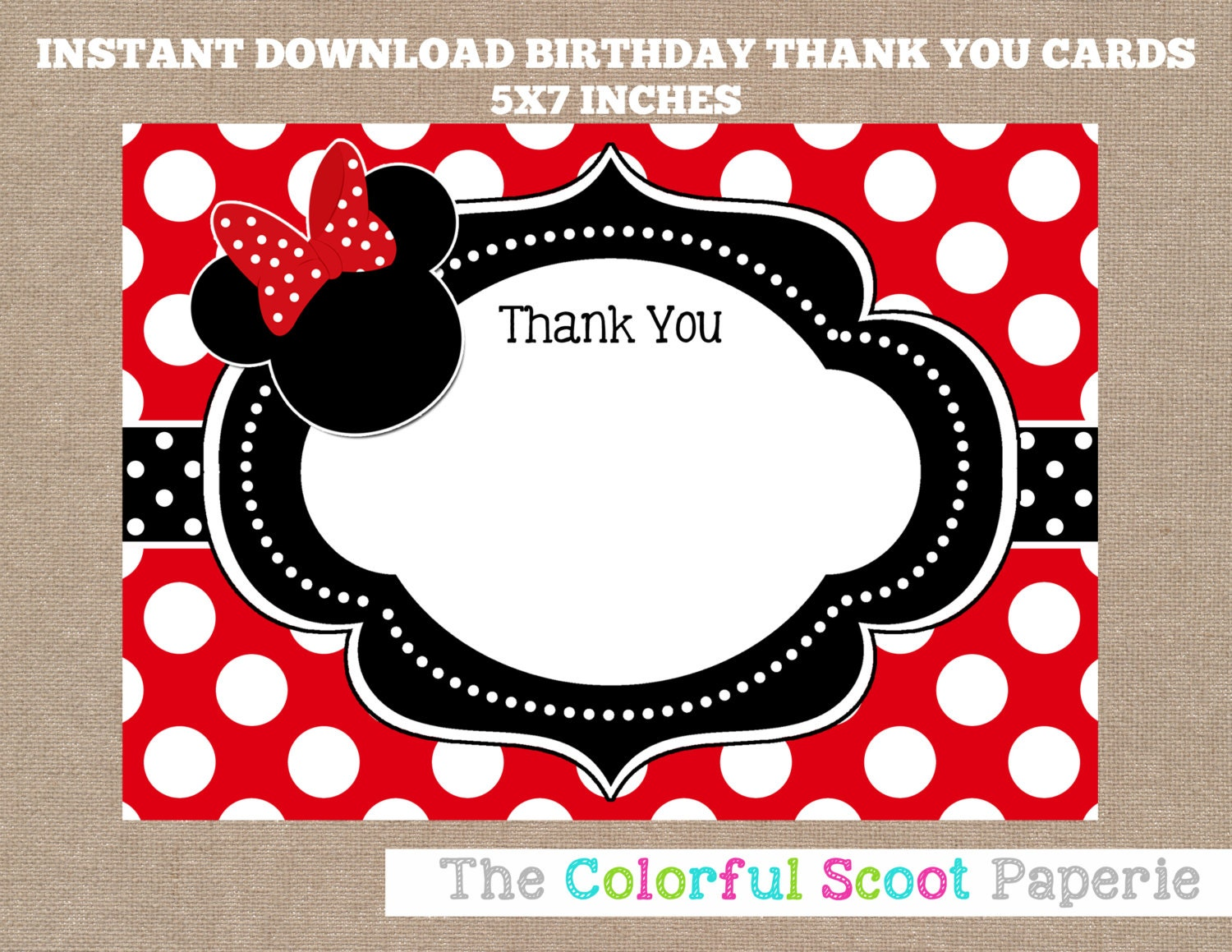 minnie mouse thank you card disney disney thank you cards