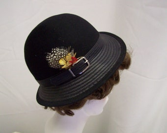 Vintage black wool hat with feathers, pheasant, fedora type