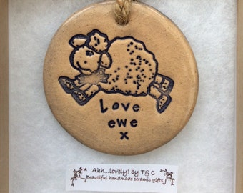 Love ewe sheep handmade ceramic decorative disc