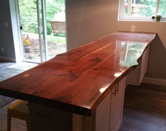 CUSTOM Live Edge Walnut Bar Top - Sustainably Harvested Solid Wood Slab