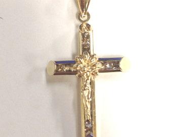 Ladies Vintage Unique Crucifix 14 k Gold and Sparkling CZ's