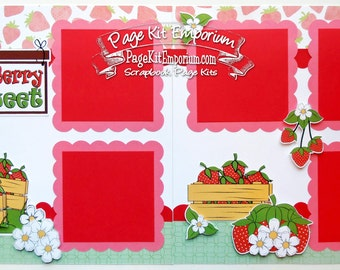 Scrapbook Page Kit So Berry Sweet Girl Baby Shower 2 page Scrapbook Layout 109