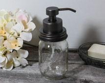 Foaming Mason Jar Soap Dispenser with Large Oil Rubbed Bronze Pump, Canning Jar Foam Dispenser, Clear Ball Pint Jar, Leak and Rust Resistant