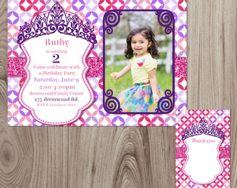 Pink Princess Birthday Invitation w/ picture DIY Printable