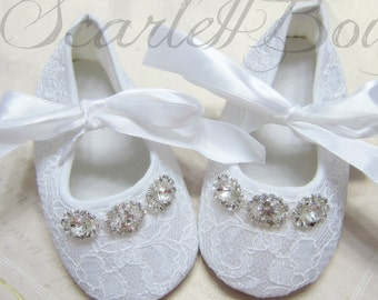 White Lace Baby Girl Shoes,Christening,Wedding shoes