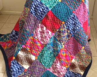 Handknitted Colourful Squares Double Thickness Blanket