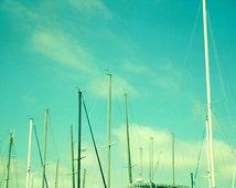 Mint green art print, sky photography, beach wall art, boat masts picture, nautical boys room wall art aqua turquoise modern artwork, clouds
