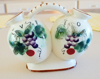 1960's Handled Double Cruet Oil and Vinegar Hand Painted Porcelain
