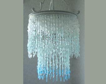 Sea Glass Lighting Fixture Chandelier SEMI FLUSH MOUNT Coastal