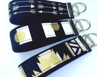 Key Fob Wristlet Black and Gold Keychain/Arrows Key Fob/Aztec Key Fob/Black and White Stripes Key Fob/Key Chain Wristlet/UCF/BEST SELLER
