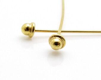 4 Pcs,  24k Gold Vermeil Headpins