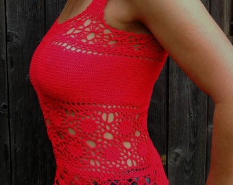 Lacy hand crochet tank top - custom made