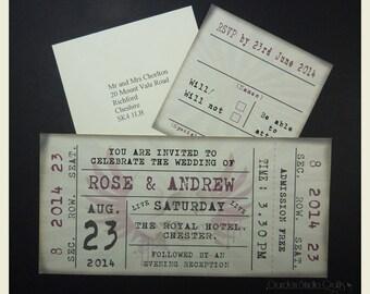 Ticket Style Wedding Invitation, Retro Wedding Invitation, Rock Ticket Wedding Invitation,Ticket Invitation, SAMPLE
