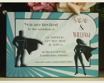 superhero wedding invitation with free rsvp retro wedding invitation vintage wedding invitation quirky - Superhero Wedding Invitations