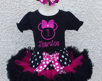 Minnie Mouse Magenta Silhouette Birthday Number Pettiskirt -Personalized Birthday Pettiskirt,Sizes 6m - 14/16