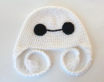 Big Hero 6  Earflap Hat Costume - Bay Max Six Hat - Newborn to Adult Photo Prop Baby Hat  Halloween / Cosplay Wig BayMax