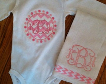 Personalized baby set includes one piece with matching burp cloth
