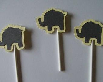 Gender Reveal Cupcake toppers Elephants (238C)