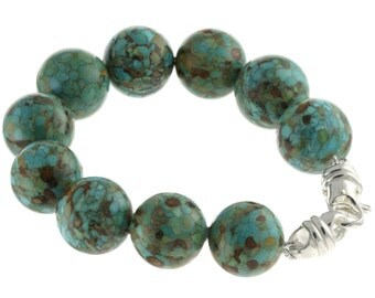 """925 Sterling Silver Swivel Lobster Clasp Bracelet / Natural 16mm Turquoise 6"""" to 9"""" Long"""