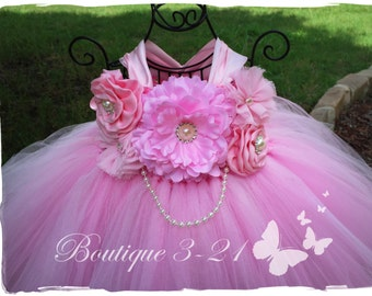 On Sale! Pink Flower Girl Dress, Pink tutu dress, Pink Birthday Dress, Pink wedding, Pink Dress