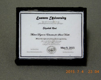 Diploma Personalized dollhouse miniature 1/12 scale