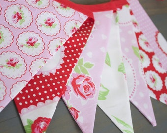Rose Pink & Red Floral Fabric Bunting Pennant Banner for Strawberry First Birthday, Nursery, Bridal or Baby Shower, Tea Party, Photo Prop