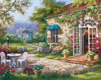 Spring Patio 2 - Counted cross stitch pattern in PDF format
