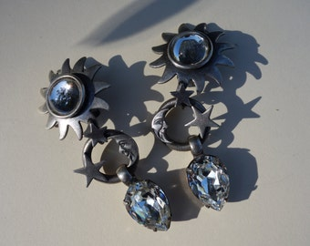 Vintage Askew Moon and Stars earrings