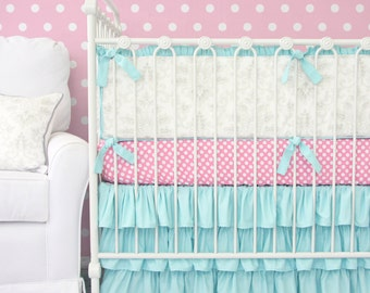 25% OFF SALE- Lovely Damask Aqua Ruffle Baby Bedding | 2 or 3 pc Bedding Set in Pink, Aqua, and Vintage Gray