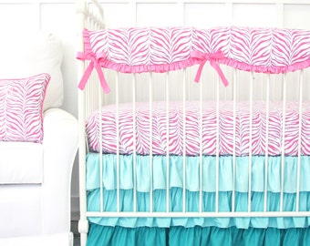 25% off SALE (sheet and crib rail ONLY!)-Zoes Zebra Ruffle Bumperless Crib Bedding | 2 or 3 Piece Set in Turquoise and PInk