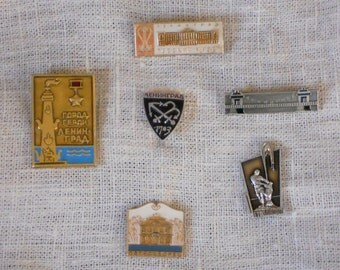 Leningrad badge pins set of 6 vintage metalic badge soviet era collectibles souvenir brooch