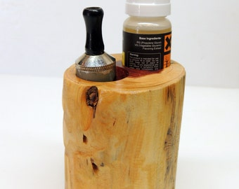 Solid Cedar Wood APV E Cigarette and Liquid Holder ~ Aromatic Cedar Ecig stand, Vapor Stand for car or home