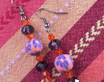 Orange and purple flower / dangling earrings