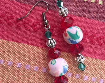 Green, pink and red earrings