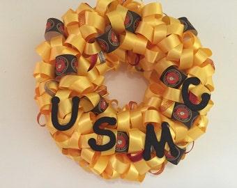 Handmade MINI Marine Corps Ribbon Wreath
