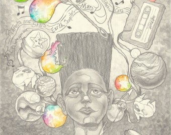 African American Wall Art, 80s Hip Hop, Whimsical Decor, Black and White Prints, Nerd Art, Geek Gifts, Royston Slayton, Nursery Wall Art