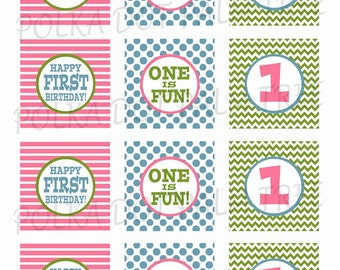 INSTANT DOWNLOAD Pink Green Blue One Is Fun First Birthday Chevron Dots Stripes Cupcake Toppers Party Stickers Treat Bag Tags Printable PDF