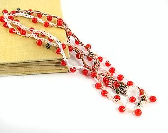 Red agate beads crochet necklace Long fiber necklace Red wrap necklace Layered necklace