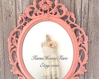Bathroom Mirror Wall Hanging Mirror Baroque Ornate Mirror, Shabby Chic Nursery Mirror Large Coral Mirror