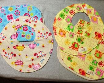 Newborn Baby 4 Piece Bib & Burp Cloth Set, Organic Flannel Lining, Snap Closure