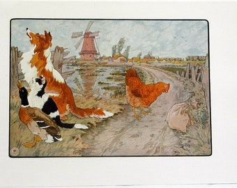 Frederick Richardson The Little Red Hen Color Children's Print from 1923 Original Nursery Rhymes/Stories Book Page Color Lithograph #5