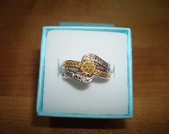 Genuine Natural Canary Yellow Diamond And White Diamond 14K Gold / 925 Sterling Silver Ring Size 5.25 (Sale Price)