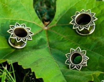 Hand crafted flower tunnel, Gauged Earrings, brass or silver colour available, price by piece