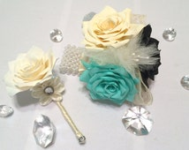 Black corsages, Black boutonnieres, Ivory corsages, Paper corsages, Wedding corsages, Paper Boutonnieres, Mother's corsages, Prom corsages