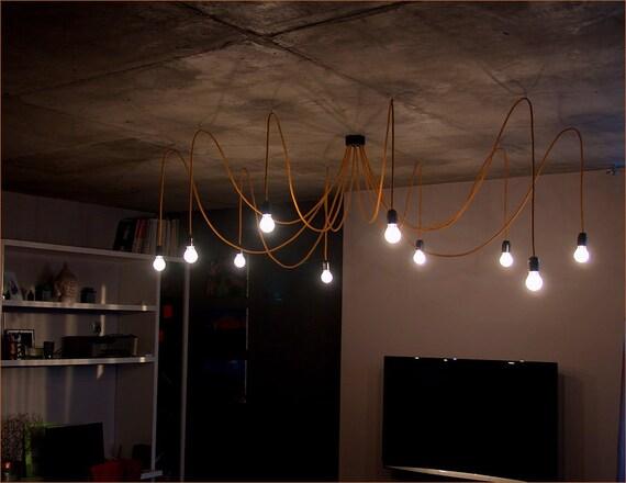 lustre en tissu dor avec c ble textile poulpe au par primaelectro. Black Bedroom Furniture Sets. Home Design Ideas