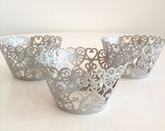 12 Silver Shimmer Lace Heart Laser Cut Cupcake Wrappers, 12 ct - Grey Cupcake Wrap
