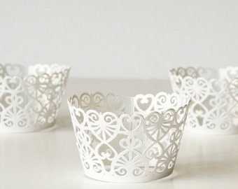 12 White Lace Heart Shimmer Laser Cut Cupcake Wrappers, 12 CT