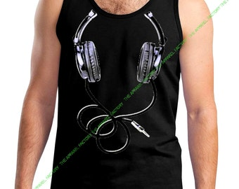 New Men's Headphones Black Tank Top All size XS-3XL