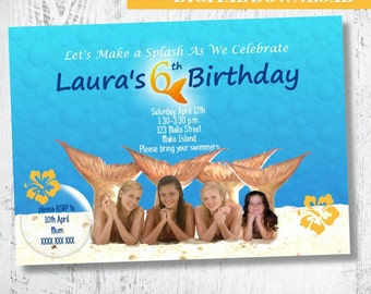 H20 Just Add Water Photo Invitation.H2O Birthday Invitation.Mermaid Invitation Party Invites.Birthday Party Ideas Printable. H20. Printable