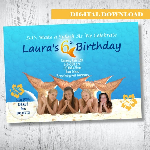 H20 just add water photo invitation h2o birthday for Immagini h2o